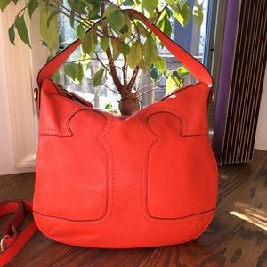 Tory Burch Leather Hobo Bag Amalie Orange